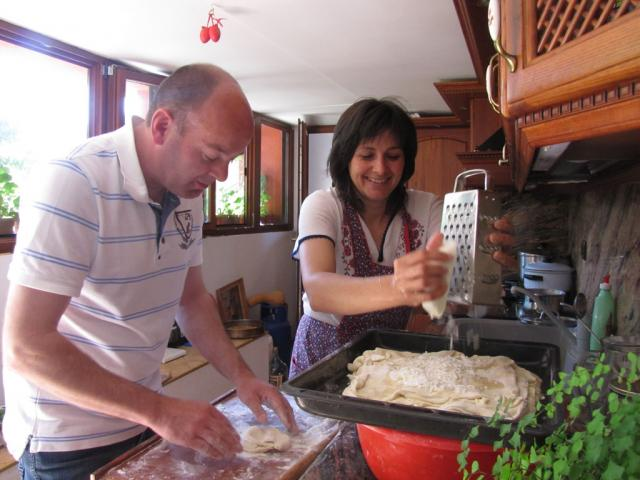 Eric van Veluven and Blagovesta Vasilieva are making maslenitsa at the Cooking days in the village of Gorno pole (pic. Iva Tontcheva)